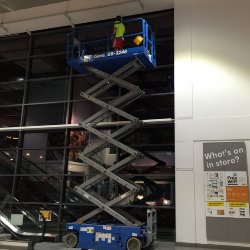 scissor lift at IKEA
